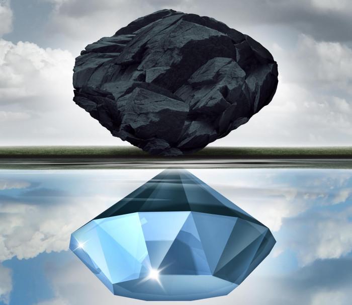 diamant en steenkool-web